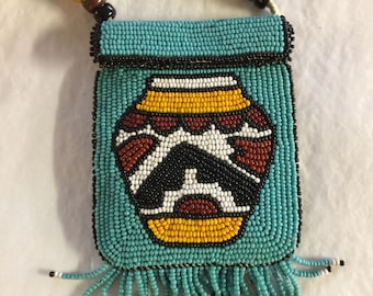 Beadwork Acoma Pot Medicine Bag Leather Pouch Beaded Fringe