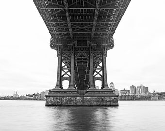 Contemporay Manhattan Bridge Photo Print // Minimalist Art // New York City Photography // Modern Art // Black and White // Mid Century