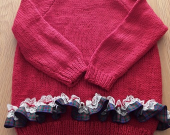 Handknit Girls Jumper with MacDonald Tartan Ribbon