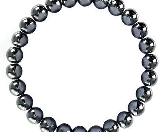 "Natural Hematite Bracelet Size 10mm/8mm. Length 7.5"" Smooth Gemstone Elastic w/Cord Bracelet. B-HEM-0160"