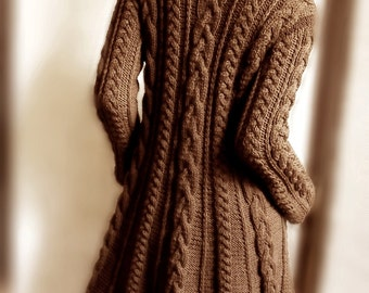 Hand Knit Wool Cable Sweater Coat Cable Knit Sweater Many Colors Available