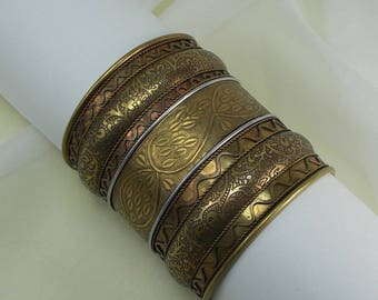 Very Wide Vintage Brass and Copper Floral and Vine Patterned Cuff Bracelet  2654
