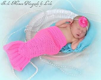 Crochet Mermaid Tail Newborn Photo Prop 0 to 3 months
