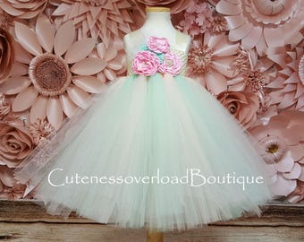 Mint and Blush Flower Girl Tutu Dress-Mint and Blush Tutu Dress-Mint and Blush Wedding Tutu- Mint and Blush Girl Tutu-Mint and Blush Dress