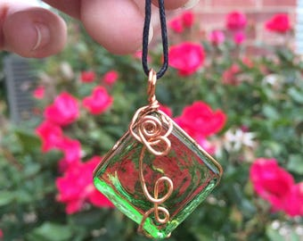 wire wrapped pendant / green glass square / copper wire / nature rose vine inspired / boho jewelry / natural necklace / gift for her / glass