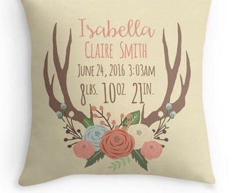 Birth Announcement Pillow - Personalized Baby Pillow - Baby Gift - Girl Nursery Decor - Deer Antler Pillow