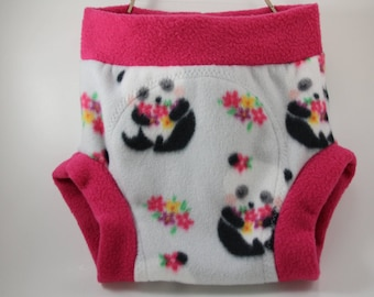 Panda Bear Flower Fleece Shortie Soaker/ Diaper Cover- Great Baby Shower Gift