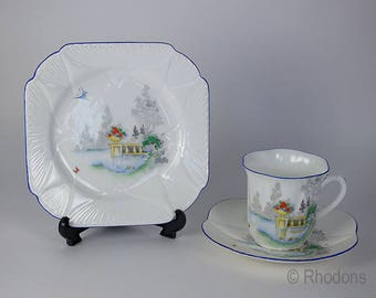 1930s Shelley Trio, Lake & Balcony With Butterflies Pattern #2117