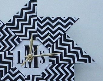 Personalized Clock Housewarming Gift - Chevron Origami Clock - Black