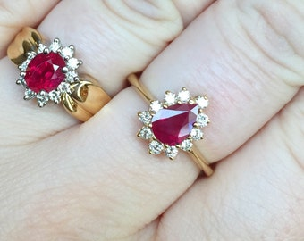 SALE-- 18k yellow gold 1.14ct ruby and 0.27ct diamond ring