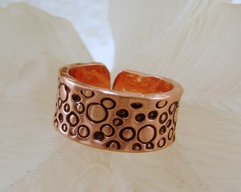 Pure Copper Ring with Hand Stamped bubbles - Any size