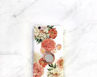 Ring Phone Grip Peony Floral Case iPhone Case With Stand Samsung Galaxy - iPhone 8 Plus, iPhone X, iPhone 7 Plus Mothers Day Gift