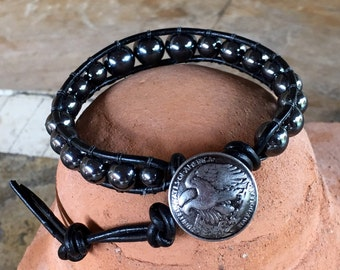 Hematite gemstone leather wrap bracelet handmade with eagle design pewter button clasp.