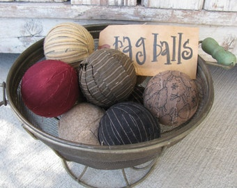 Primitive Country Hand Wrapped Rag Balls Set of 9 GCC4528