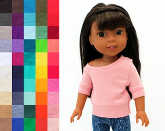 Fits like Wellie Wishers Doll Clothes - Off Shoulder Top, You Choose Color and Sleeve Length   14.5 Inch Doll Clothes
