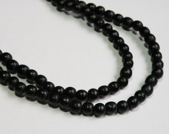 Jet Black wood beads round 6mm full strand eco-friendly Cheesewood 9436NB