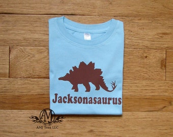 Personalized kids dinosaur shirt,  stegosaurus dinosaur shirt, personalized dinosaur birthday t shirt for boys