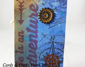 Travel Theme Tag, Mixed Media Tag, Altered Tag, Junk Journal Tag, Gift Tag, Rusted Gear, Life is an adventure