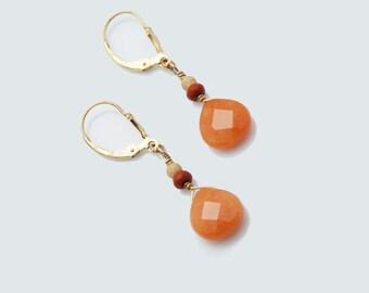 Red Aventurine earrings / Orange earrings / Orange Gemstone earrings / Orange and Gold earrings / Aventurine earrings / Aventurine jewelry