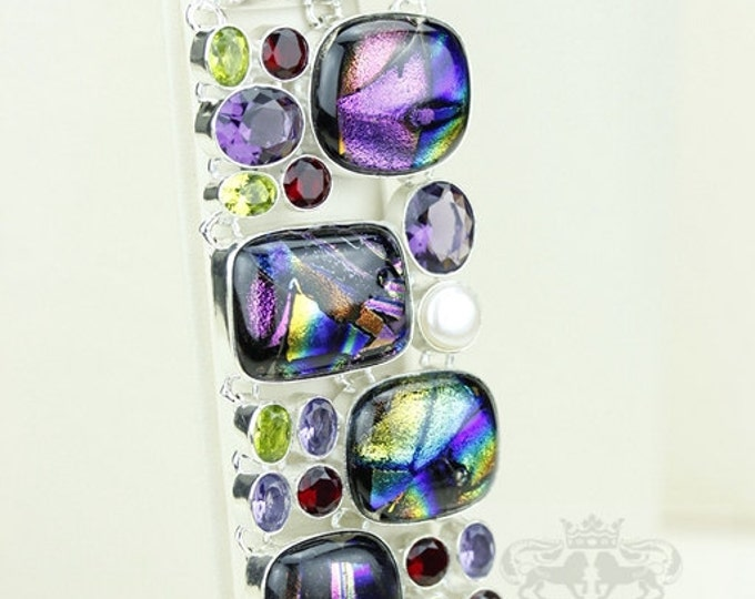 Double Capped Dichroic Glass Pearl Amethyst 925 S0LID Sterling Silver Bracelet & FREE Worldwide Express Shipping B1764