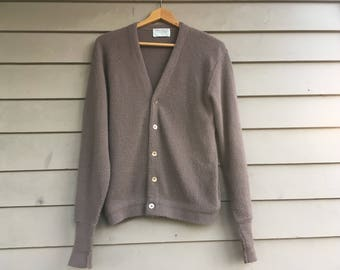 S/M 60s cardigan sweater Lord Jeff orlon made in USA American made in America M size small medium S v neck beige taupe brown tan Grandpa
