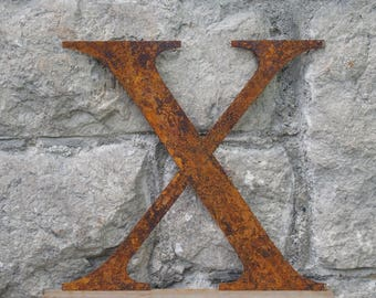 Flat Metal Rusty Letter X / Metal / Letter / Garden / Industrial / Vintage / Rustic / Floral / Gift / Wedding / Home / 25cm