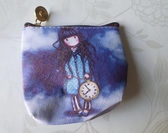 x 1 cotton purse coated tone bleu FONCÉ pattern girl 11.5 x 10 cm