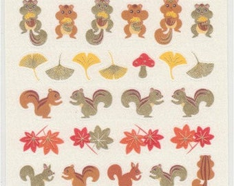 Autumn Stickers - Red Leaves - Squirrel Stickers - Paper Stickers - Japanese Stickers - Reference A4827-29