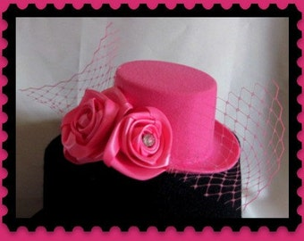 Pink  Rose Mini Top Hat  with crystal and handmade roses   ready to ship