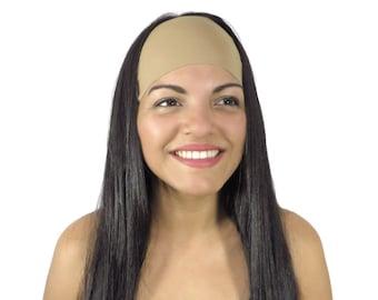 Yoga Headband Solid Light Tan Headband Running Headband Workout Wide Headband No Slip Headband Hippie Headband Women Spandex Headwrap S242