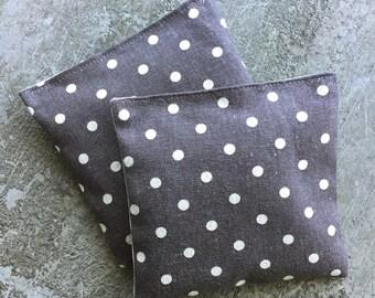 Organic Lavender Sachet Set in Steel Grey Linen Polka Dots Set of 2 Japanese Linen Herbal Sachet Natural Home Mother's Day Gift