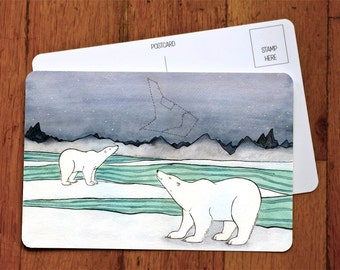 Polar Bears And Constellations  - Art Postcard - Holiday Card -Polar Bear Greeting Card A6 -from original watercolor painting 4x6
