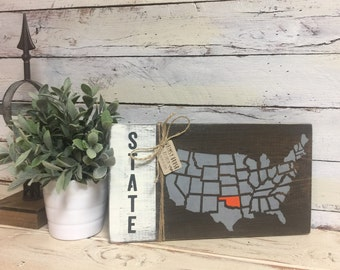 State Sign | Home State Sign | United States Map | Customize | Home Decor | Wall Hanging| Shelf Decor | Hand Painted