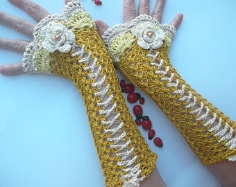 Crocheted Cotton Gloves Ready To Ship Victorian Fingerless Summer Women Wedding Lace Evening Retro Hand Knitted Party Mustard Corset B38