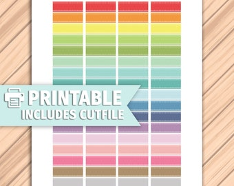 STITCHED LABELS Printable Planner Stickers/for use with Erin Condren Life Planner/Silhouette Cutfiles/Multicolor Functional College School