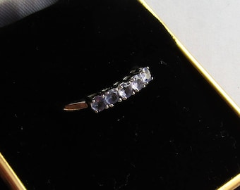 Tanzanite Anniversary or Stacking Band 5 stone Ring, sparkly in solid 10K w gold, sz 7, free US first class shipping