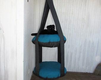 Outdoor Cat Bed, Black Sparkle & Aqua Blue, 2 Level Kitty Cloud Cat Bed, Hanging Cat Bed, Pet Furniture, Cat Tree, Indoor Outdoor Cat Bed