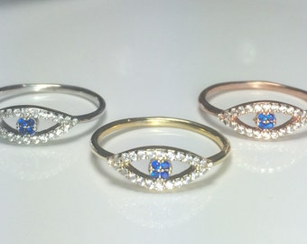 Evil Eye Ring with Cubic Zirconia For The Perfect Protection From The Evil Eye • Safe to Get Wet