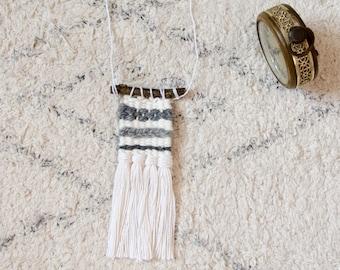 Woven necklace, fringe necklace, fiber jewelry, grey-white necklace, handmade