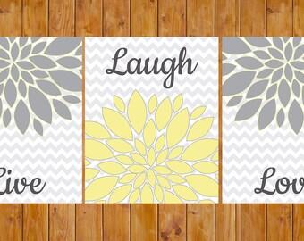 Live Laugh Love Floral Flower Wall Art Gray Yellow living room Decor Bedroom Bathroom 3- 8x10 DIY Printable JPG Files (31)