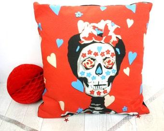 Frida Kahlo Pillow Cover - Mexican Day of the Dead Cushion Cover - Dia De Los Muertos Home Decor - Sugar Skull - Frida Kahlo Gift