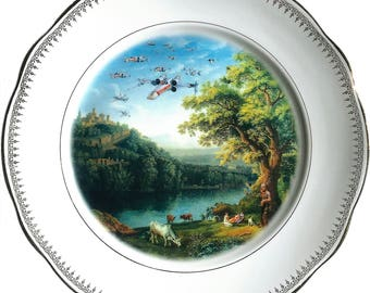 X-Wing Starfighter Squad Landscape - Chewbacca - Star Wars - Vintage Porcelain Plate - #0554
