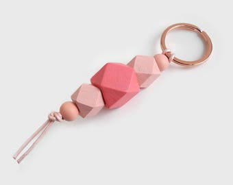 Rose Gold Keychain, Pink Lanyard, Dusty Rose Pink Lanyard, Wood Bead Keychain, Beaded Keyring, Geometric Key Fob, Birthday Gift for Her