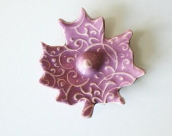 Pink Ceramic Ring Holder Leaf - Glazed in violet pink