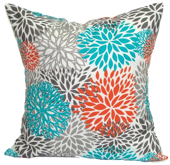 BLUE OUTDOOR PILLOWS Orange Turquoise Blue Floral Pillow