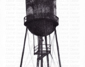 Water Tower Drawing- Free Shipping