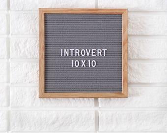 """10x10"""" Introvert Letter Board - Oak Frame Letter Board - Messenger Board - Felt Board with 300+ Letter Set"""