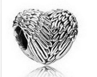 Heart Silver Big Hole Necklace Bracelet Jewelry Making Charm Bead