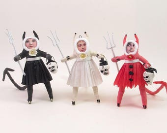 READY TO SHIP Vintage Style Spun Cotton Devil Girl Halloween Figure/Ornament