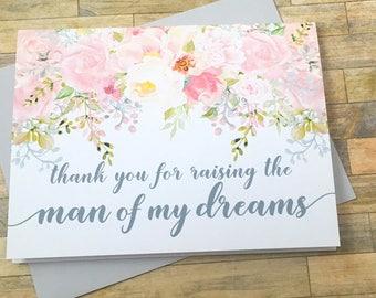 Vielen Dank für die Anhebung des Mannes meiner Träume - Frau meiner Träume - Hochzeit-Tageskarte in Gesetze - Mutter und Schwiegervater - Garten-Romantik